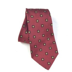 Luciano Barbera Red Silk Printed Neck Tie